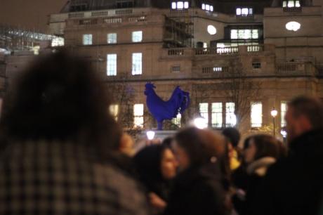 Blue cockerel Trafalgar Sqaure French Gathering